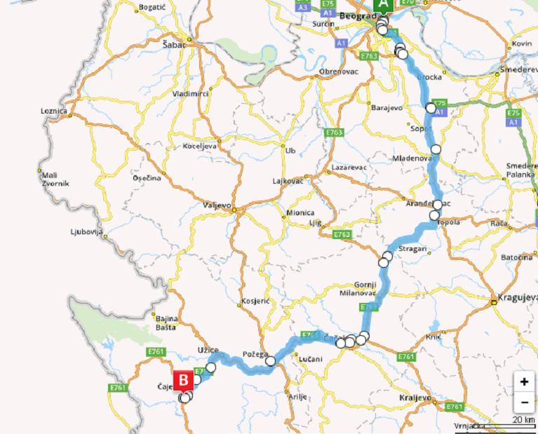 Mapa Beograd Zlatibor Superjoden